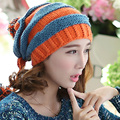 Autumn Winter Women Warm Handmade Knitted Hat Beanie Stripe Mosaic Contrast Color Pirate Hat With Three Balls
