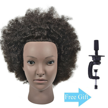Afro Training Head 10 100% Human Hair Styling Cosmetology Manikin Mannequin Hairdresser Doll with Free Clamp