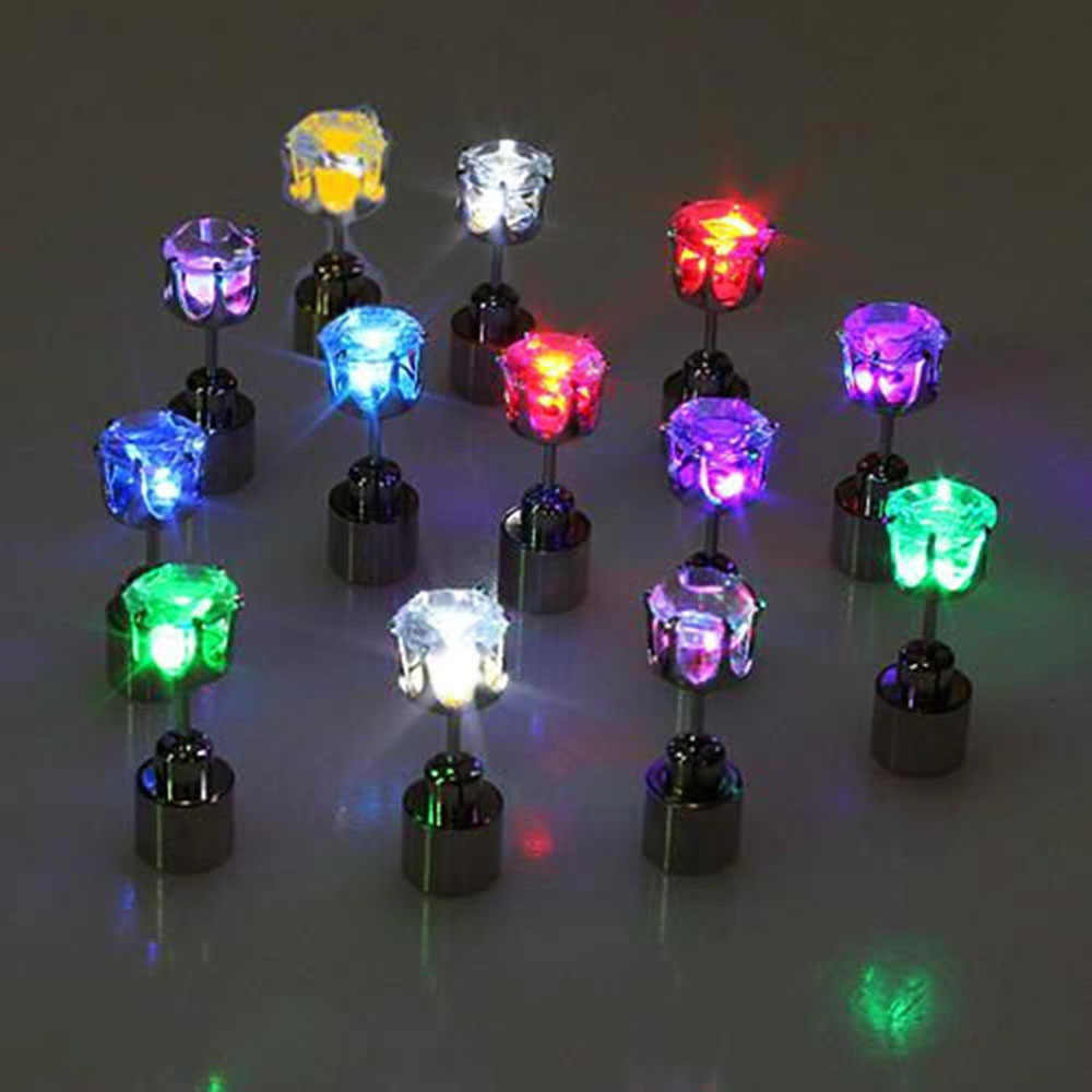 1 pezzo di Fascino Di Led Light Up Crown Incandescente Inossidabile di Cristallo Luminoso Ear Studs Orecchie gioielli DJ Dance Party Bar anelli