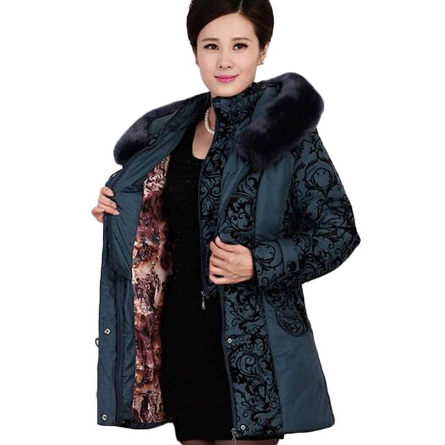 AKSLXDMMD2017 Middle-aged winter jacket women Thicken Warm Cotton-padded Slim Plus Size Fur Collar winter Coat Women Parka DX360