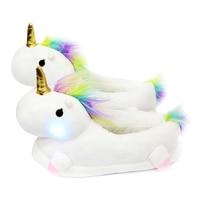 Unicorn Led Glowing Unicorn Slippers Kids Winter Warm Boy Girls Plush Slippers Unicorn Slippers Light Up