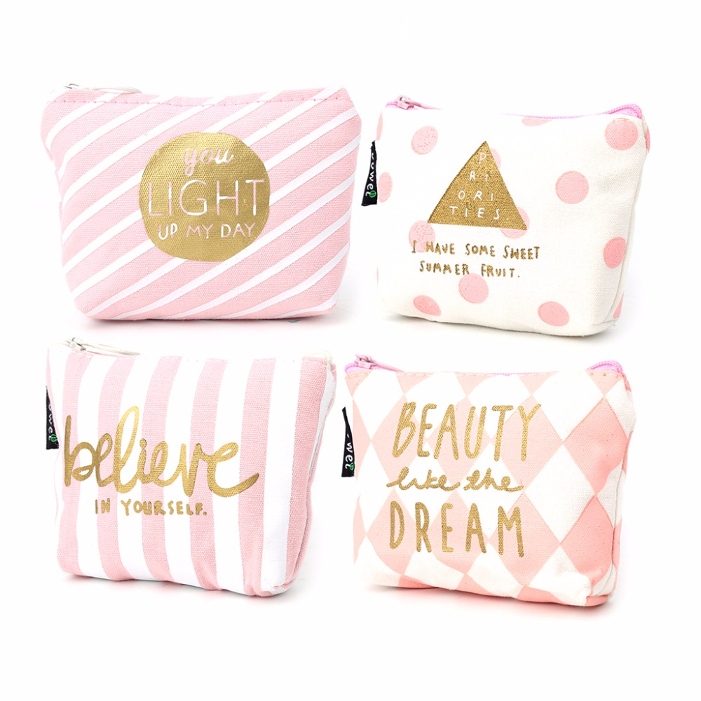 THINKTHENDO Cute Girls Change Coin Purse Mini Canvas Zip Wallets 2018 New Fashion Key Holder Pouch