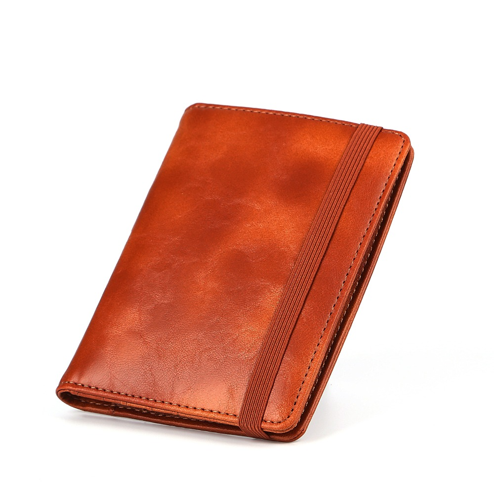 Vintage RFID PU Leather Passport Holders Passport Covers Wallet Travel Document Cover Brown Passport Holders