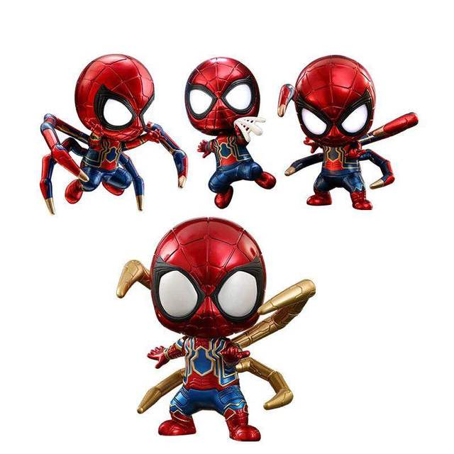 Avengers Infinity War Iron Spider Light Mini Action Figure Light Web Shooting Iron Spider PVC figure Toys Brinquedos Anime 10CM