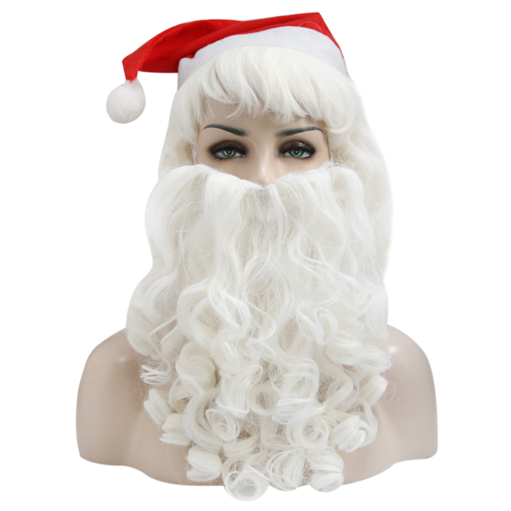 Santa Claus Beard And Wig Set Costume Wig For Christmas Gift Synthetic Hair Short Wigs For Men White Hairpiece Accessories