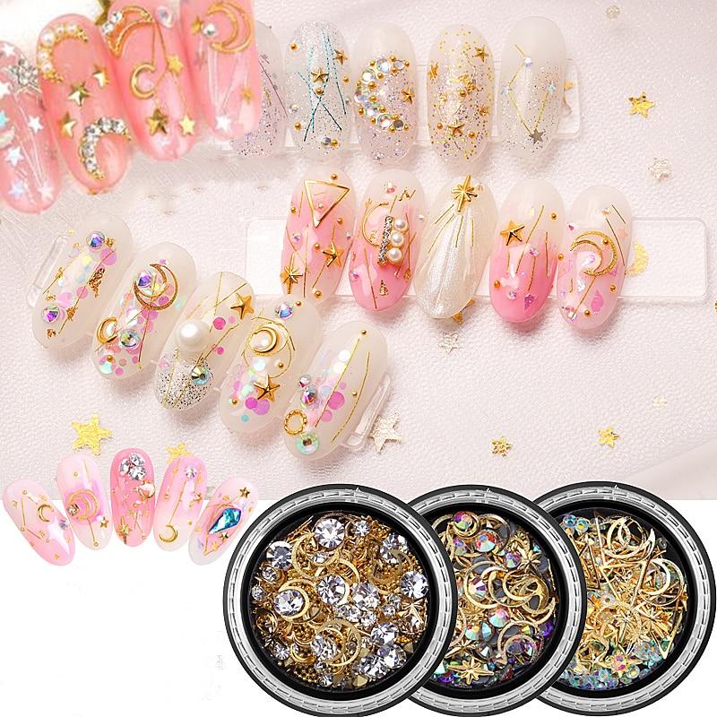 Caixa Prego Mixed Estilos Liga Cristais Gemas 31 1 Prego Glitter Pedrinhas Diamante de Metal Strass Unhas Gel Polonês Encantos JS1