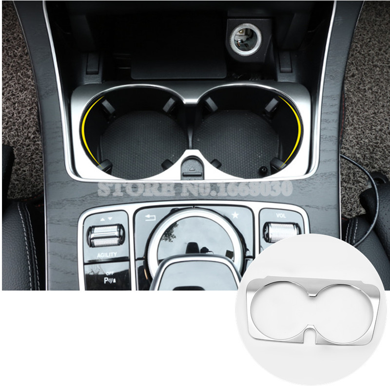 Inner Console Water Cup Holder Cover Trim 1pcs For Mercedes Benz C Class W205 S205 2014-2018