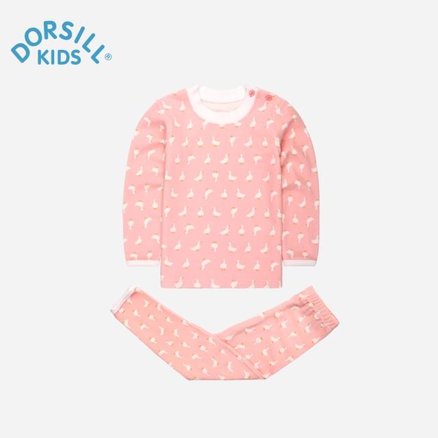 Dorsill 2016 Новый Дети Underwea Осенью и Зимой Little Swan Печати Хлопка Пижамы Мальчиков Одежда Пижамы и Девочек Рубашки