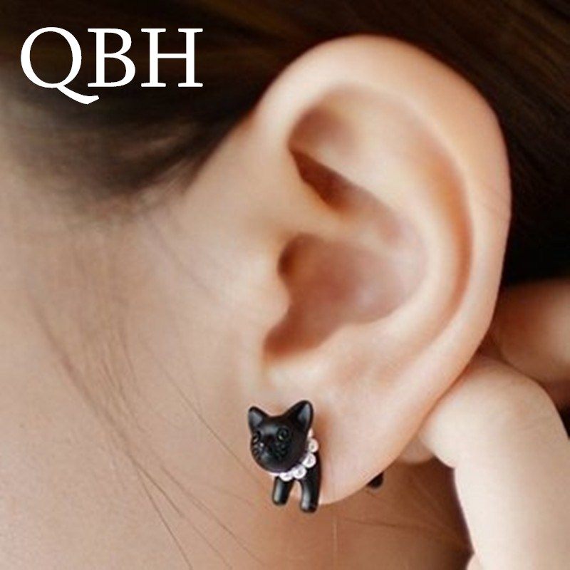 Hot Sale Brincos Cute Imitation Pearl 3D Kitty Black Cat Stud Earrings For Women Jewelry For Women Jewelry Gift Pendientes