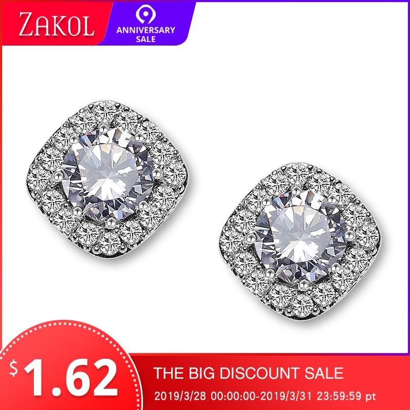 ZAKOL Hot Sale Clear Round AAA+ Cubic Zirconia Stud Earrings Fashion Square Crystal Earrings For Women Girl Gift Jewelry FSEP102