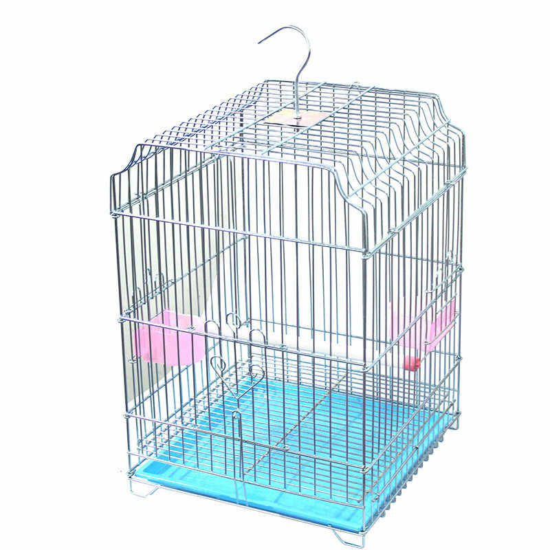 Electroplating bold wrought iron parrot cage household stainless steel bird cage portable outdoor food cage ZP01031123