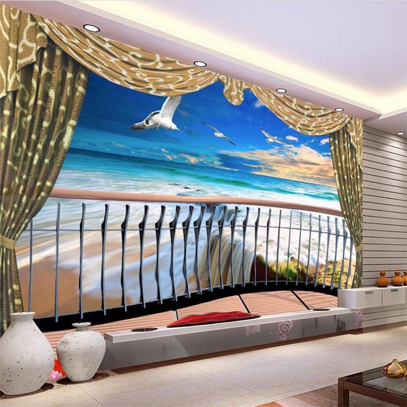 ea09c4e81 Beibehang 3d مجسمة خلفية تخصيص hd جدارية خلفيات شرفة البحر مشهد أوروبا  papel دي parede صور خلفيات