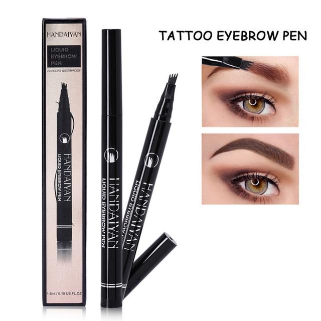 HANDAIYAN 4 cabeza de horquilla de pintura líquida frente tatuaje lápiz Color marrón negro Natural impermeable Henna cejas maquillaje pluma TSLM2
