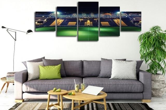 Stade de football imprimé giclée 5 panneaux sans cadre peinture sur