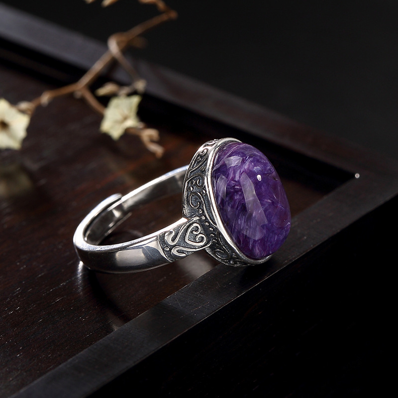 New L&P Pure 925 Sterling Silver Natural Gemstone Ring For Women,Elegant Charoite Adjustable Ring Fine Jewellry Gift