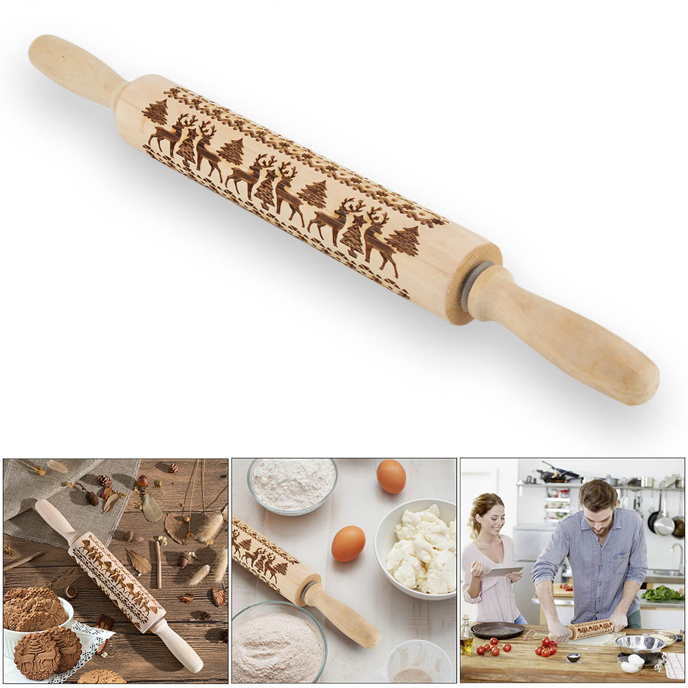 Lovely Hot Christmas Rolling Pin Engraved Carved Wood