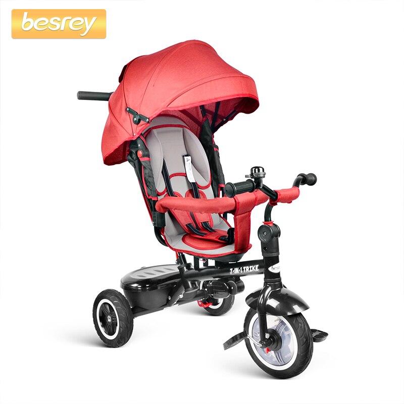 Besrey enfants Trike vélo 7 en 1 pousser bébé trois roues poussette Tricycle avec siège rotatif et inclinable pour les enfants à dormir dans