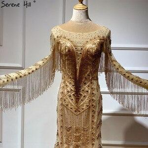 Image 4 - Dubai Design Long Sleeves Luxury Evening Dresses 2020 Gold Beading Tassel Evening Dress Long Real Photo LA60780