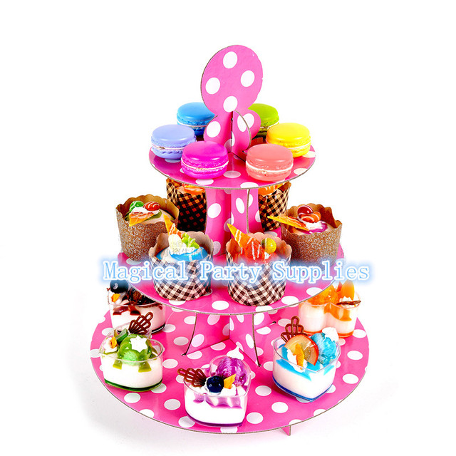 Free Shipping 2pcs Pink Cupcake Stand Cake Dessert Stands For Baby Kids Birthday Party Decoration