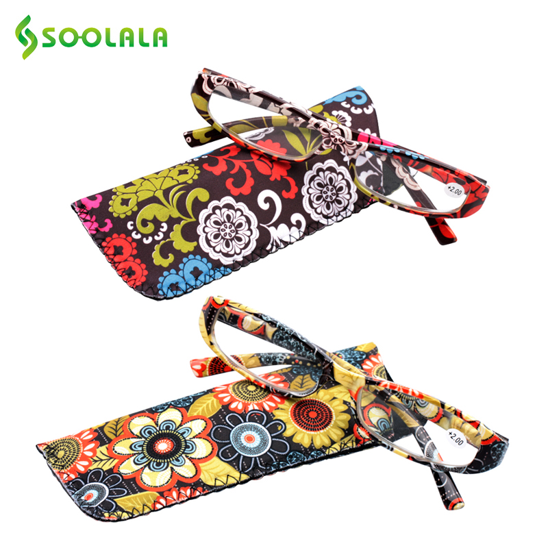 Soolala Printed Reading Glasses Spring Hinge Rectangular Presbyopic Reading Glasses W/ Matching Pouch +1.0 1.5 1.75 2.25 To 4.0 Discounts Price
