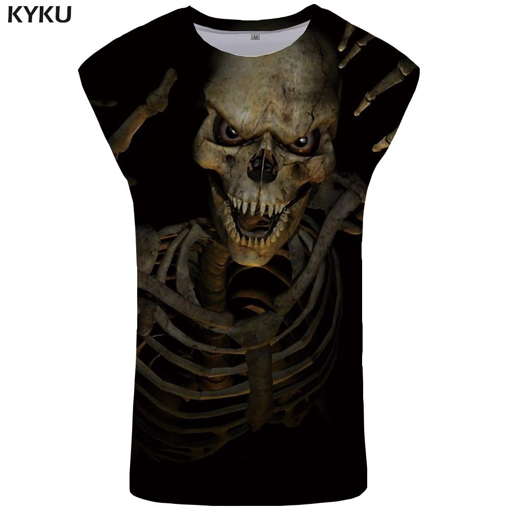 KYKU Brand Skull   Tank     Top   Men Black Singlet Devil Vest Skeleton Ftness Clothing Stringer Undershirt Sleeveless Shirt Man