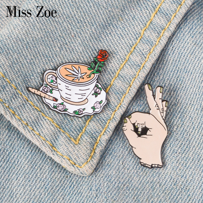 2pcs/set Middle Finger Rose Coffee Enamel Pin Ok Brooches Bag Clothes Lapel Pin Button Badge Funny Jewelry Gift For Friends Brooches Jewelry & Accessories