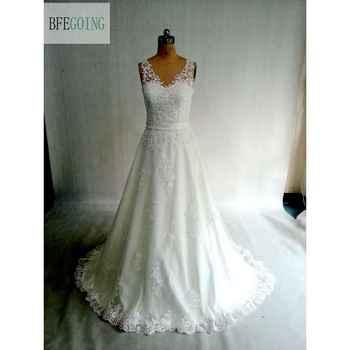 Ivory Lace Tulle V-Neck A-line Wedding dress Court Train  Floor-Length  Belt Bridal Dress Real /Original Photos Custom made - DISCOUNT ITEM  0% OFF All Category