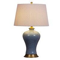 American Retro полный Медь Керамика настольная лампа современный китайский кровать небо зеленый трещины декоративный свет
