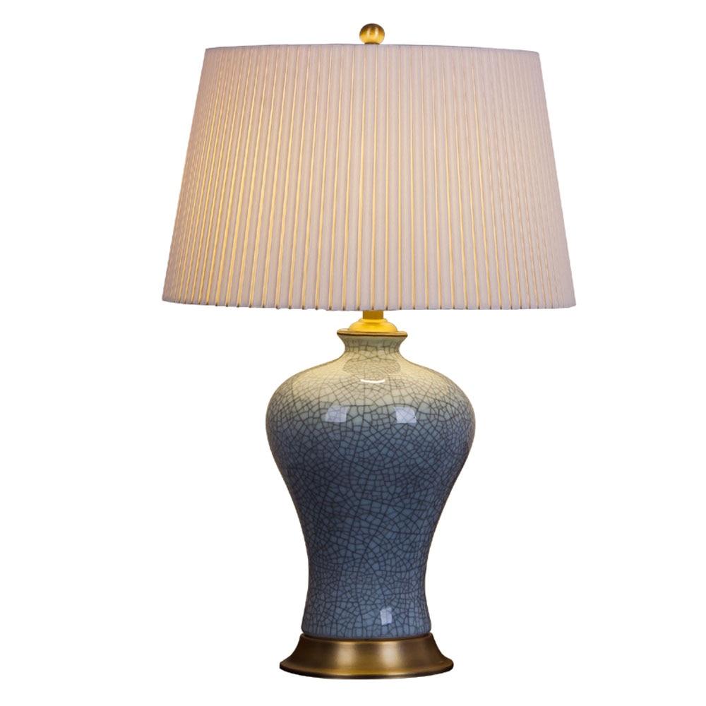 Américain rétro pleine de cuivre lampe de table en céramique moderne chinois lit ciel vert fissuré