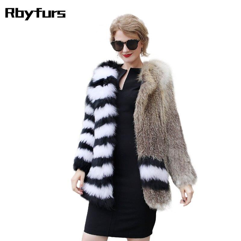 Новые меховые пальто модное золотистое пальто с лисой из натурального Лисьего меха черно белая куртка одежда среднего качества