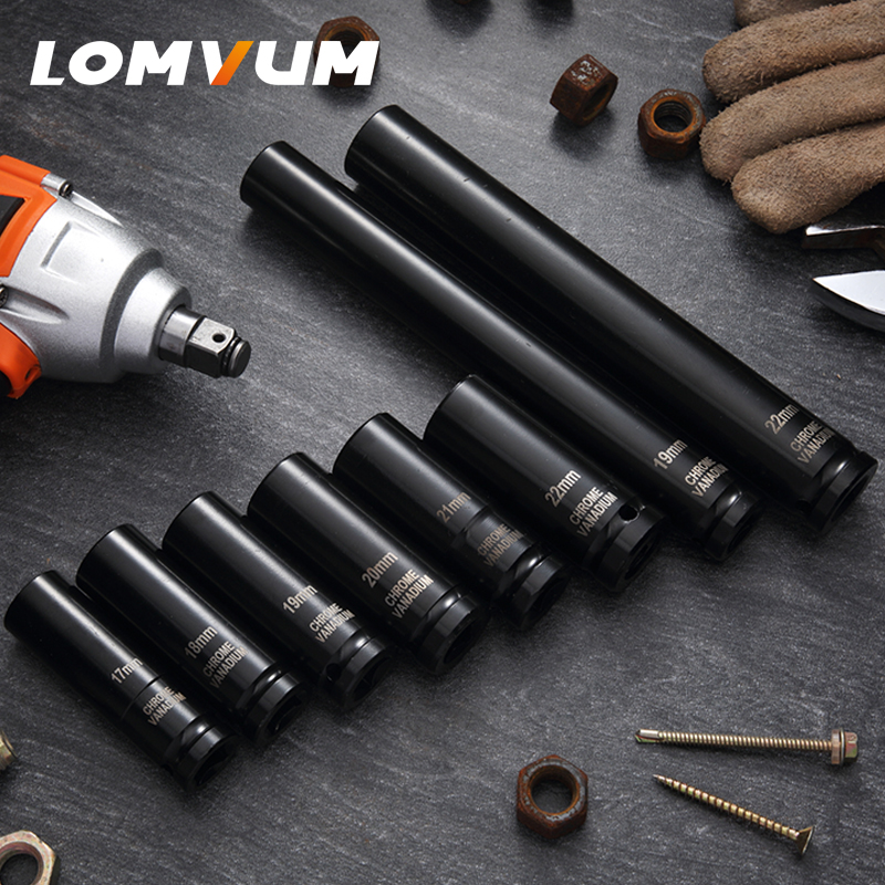 LOMVUM Electric Wrench Sleeve Wrench Ratchet Wrench Auto Repair Hardware Truck Hex Shank Impact Socket Adapter xkai 14pcs 6 19mm ratchet spanner combination wrench a set of keys ratchet skate tool ratchet handle chrome vanadium