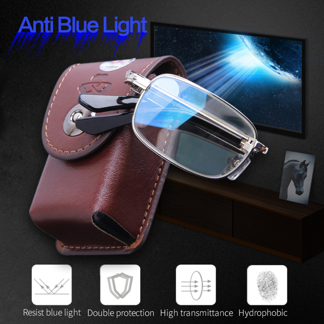 Resist Blue Light Folding Reading Glasses Men Portable for Elderly Read Eyewear Anti Blue Presbyopia Magnifing Lenses With Case