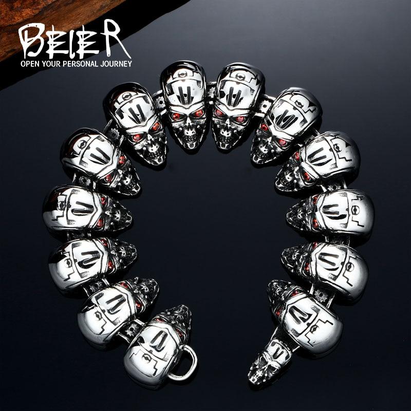 BEIER Wholesale Price Punk Men bracelet 316L Stainless Steel T800 Terminator Bangle Moive jewelry BC8-011 opk biker stainless steel men bracelet