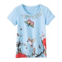 KENVY брендовая модная женская Высококачественная Роскошная летняя хлопковая футболка с коротким рукавом и принтом бабочки, украшенная бисером и бриллиантами