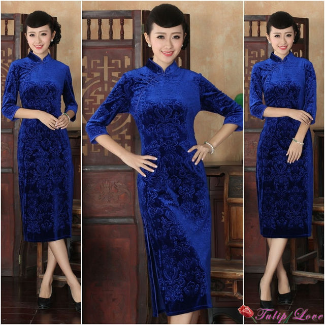 9af164dac27 New Brand Vintage Blue Color Plus Size Chinese Dress