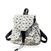 Fashion Women Drawstring Backpack For Teenage Girl Bao Bao School Bags Diamond Lattice Geometry Quilted Ladies