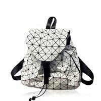 Fashion Women Drawstring Backpack For Teenage Girl Bao Bao School Bags Diamond Lattice Geometry Quilted Ladies