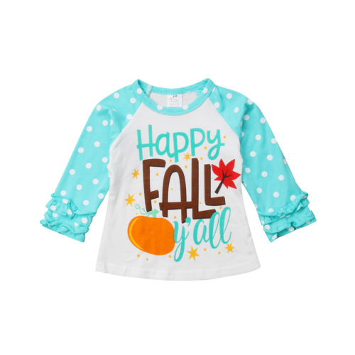 Toddler Kids Baby Girls Clothing Happy Fall Long Sleeve Warm Tops T-Shirt Casual Cotton Clothes Girl 0-7T