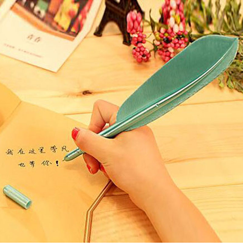 Image 5 - 20 Pcs/lot Hot Sale Creative Feather Shape Ballpoint Pen High Quality Plastic Writing for Kids Children Free Shipping Gift Pens-in Ballpoint Pens from Office & School Supplies