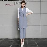Ladies Fall Coat Beige Lady Suit Long Jacket Cardigan Jacket Vest Sleeveless Coat Coat