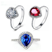 Size 6/7/8/9 Top Selling Luxury Jewelry 925 Sterling Silver Filled 4 Color Pear Cut 5A CZ Zirconia Women Wedding Heart Band Ring