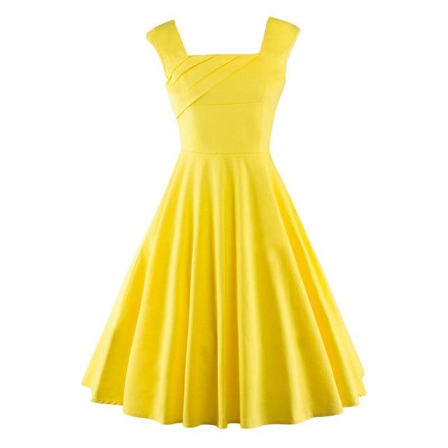 Estate delle donne Retro Vintage Dress Big Swing Party Veste Rockabilly 50 s Vestiti Da Partito Plus Size Nero Giallo Rosso Femminile Vestidos
