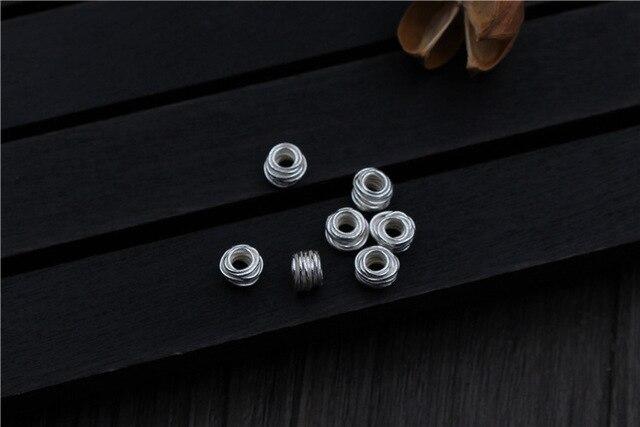 Handcarft enroulement 925 perles en argent Sterling 6.5mm grand trou exquis breloque entretoise perles pour Bracelet chaînes bijoux à bricoler soi-même faisant