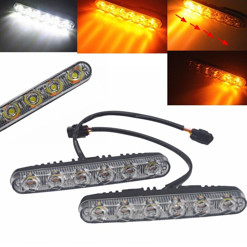 2* LED DRL Daytime Running Light Dynamic DC 12V-24V Turn Signal Warning Fog Lamp
