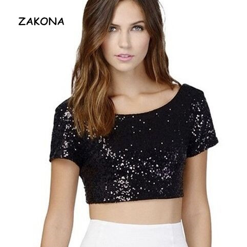 4adb9ce7241a63 New Fashion Women Crop Top Sequined Shirts Open Back Round Neck Women Tops  Short Sleeve Solid Bodycon Fit Sexy Tee Office Blusa