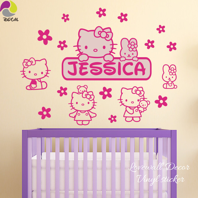 Custom Name Hello Kitty Wall Sticker Baby Nursery Cartoon Cat Anime Animal  Flower Wall Decal Kids Room Cut Vinyl Home Decor DIY