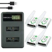 цена на 4Pcs NP-BX1 NP BX1 Battery NPBX1 + LCD Dual USB Charger for Sony DSC-RX100 DSC-WX500 IV HX300 WX300 HDR-AS15 X3000R MV1 AS30V