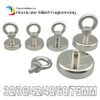 120KG Pulling Pot Magnet Diameter 16 60mm Lifting Magnet Lathed Clamping A3 Steel Cup Neodymium Fishing