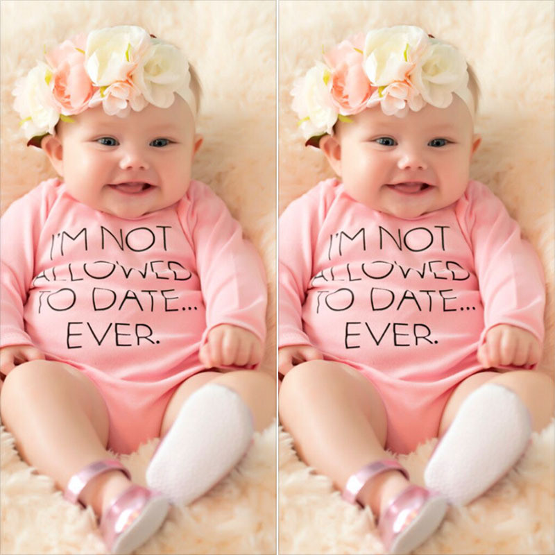 Baby Girl Bodysuit Newborn Baby Pink Long Sleeve Onesie Letter Printed Girls Jumpsuit Infant Bodysuit Baby Clothes