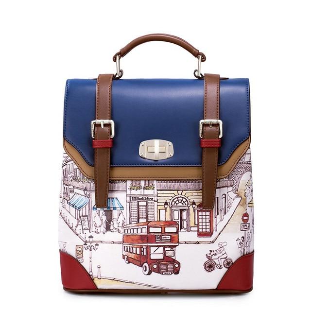 Just Star Vintage British Backpack Women Pu Leather School Bag Panelled Backpacks Famous Brand